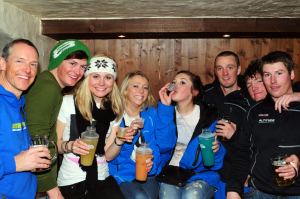 Young people drinking in Verbier